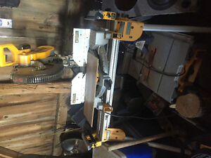 Dewalt 12 inch compound mitre saw with stand and a rigid 10 inch