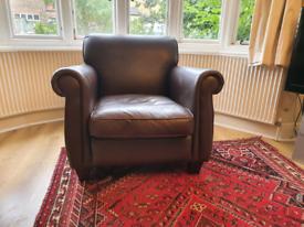 Laura Ashley Exmoor brown leather chair, armchair
