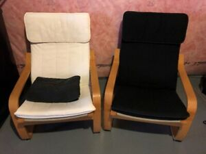 2 Ikea wooden arm chairs