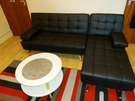 Black corner sofa leather new
