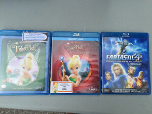 3 Blu Rays, Tinkerbell 1 & Lost Treasure + Fantastic Four Silver Cambridge Kitchener Area image 1