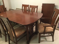 Solid teak table 6 chairs china buffet and hutch