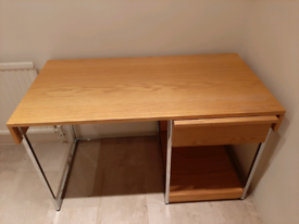 Wood Desk with Chrome Legs and one Drawer
