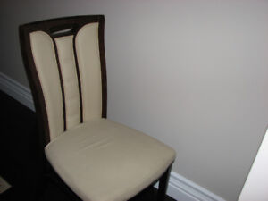 FREE! 6 Luxury Espresso Wood &Beige Faux Leather Dining Chairs