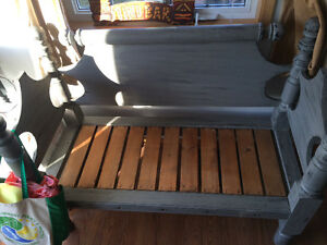 Bench made from antique bed