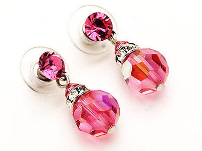 10mm Silver Rose Pink Crystal Earrings Made with Swarovski Crystals
