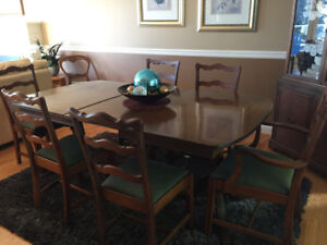 Antique table and 6 chairs + side board + china cabinet