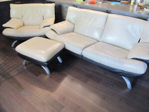 Mobler Leather Sofa, Chair and Ottoman in a good shape.