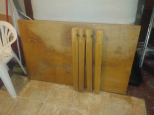 Hard wood table no chairs and other things (cooking appliances)