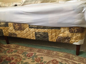 Single bed mattress, box spring and frame
