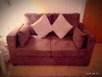 Brown suede sofa bed