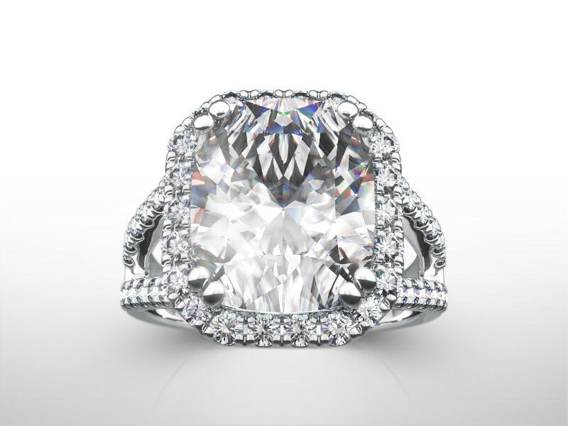 4 Ct Diamond Ring Halo Set Cushion Cut 18 Karat White Gold Real Size 6.5 8 9
