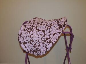 Custom Pink and Brown Floral Print English Saddle Cover
