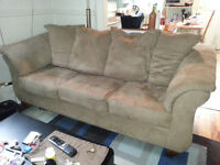 High back, Tan, Microfiber Couch - excellent condition