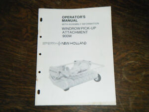 New Holland 900W Windrow pick up attachment operators Manual