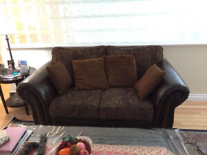 Brick Love Seat Sofa + All Leather one seat Couch
