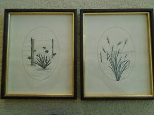 2 Framed Black Ink Drawings