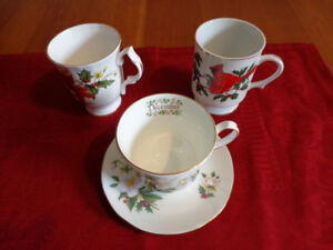 VINTAGE Bone China December Teacup & Christmas Mugs: All for $8!