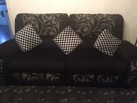 Black, white & grey 3 piece suite, all recliners, excellent condition,, cost over £2000, receipt