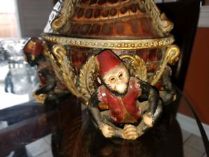 Vintage bowl with lid and 4 monkeys on base