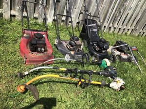 4 Murray  Gas Lawnmowers and 3 gas trimmers