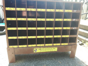 """Metal Lawson brand Nut and Bolt sorter. 35""""w x 21""""h x 12""""d."""