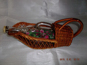 Vintage wine server with basket for sale