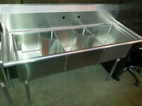 New Commercial Stainless Steel Triple sink ! Save!