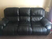 2 and 3 seater leather electric reclining sofa