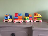Pull song wooden stacking train
