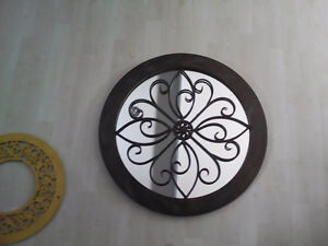 Round Wood Framed Decorative Mirror - NEW REDUCED PRICE