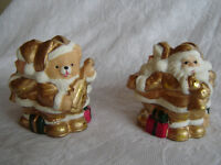 Santa and Little Bear Candle Holders