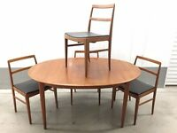 1960s Vintage Retro Danish teak dining table and 4 chairs designed by Arne Vodder for Sibast.