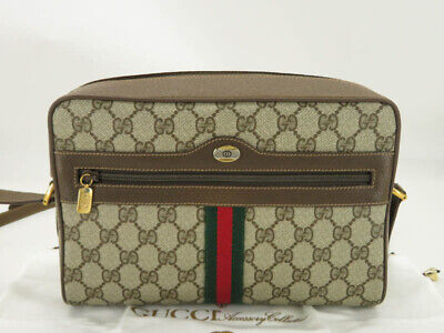 GUCCI ACCESSORY COLLECTION VINTAGE GG SHERRY PVC LEATHER SHOULDER BAG EY201