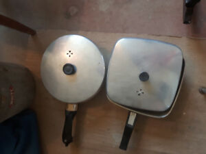 2 Vintage aluminum electric frying pans