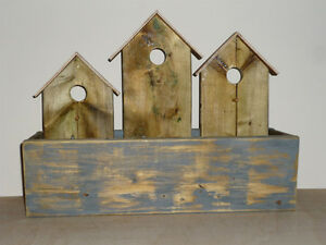 Birdhouse Planter ... solid wood ... NEW ...never used