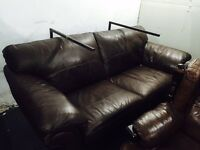 Full brown leather 2 seater sofa