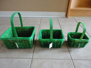 Brand new with tag set of 3 green nesting baskets storage decor London Ontario image 1