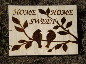 HANDMADE WOODBURNING 'HOME SWEET HOME' SIGN WITH LOVE BIRDS