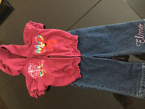 Elmo baby jeans and short sleeves sweatshirt