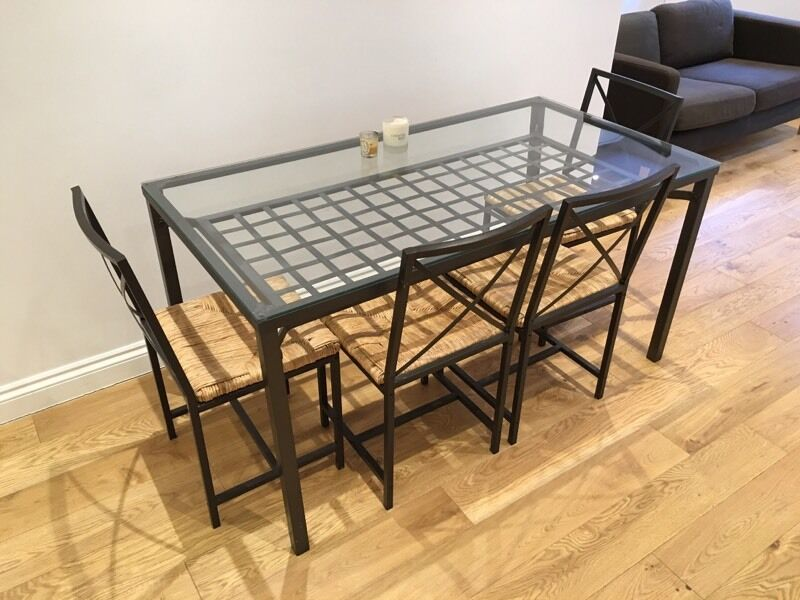 Ikea granas glass topped dining table and 4 chairs in for Ikea glass table tops