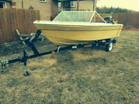 REDUCED PRICE 14.5 foot Grew fibreglass runabout boat