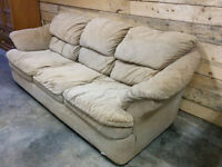 Tan Microfibre Couch - Delivery Available