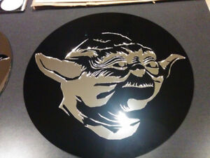 """Star Wars Wall Art.  18"""" Yoda done in black and mirrored acrylic"""
