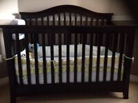 Dutailier Solid Wood convertible crib with extras