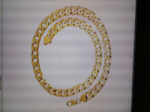 Men's Stainless Steel 22K Gold Filled Curb Cuban Chain Necklace