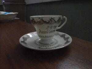 saji china tea cup - 25th anniversary