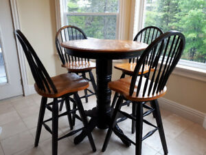 Solid Wood Pub Table and Chairs