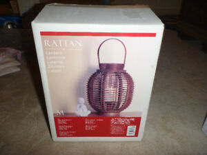 Hurricane rattan patio lantern lamp