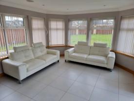 White Leather 3 Seater Sofa X 2